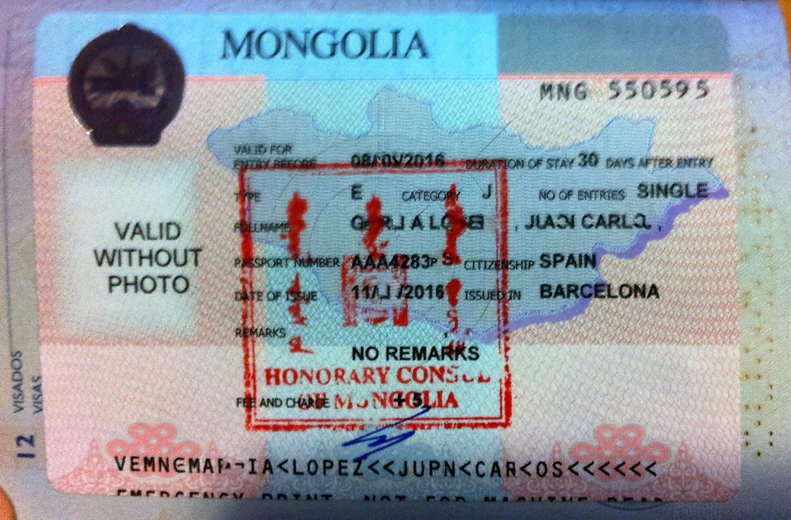 19 De Mayo. Visado De Mongolia